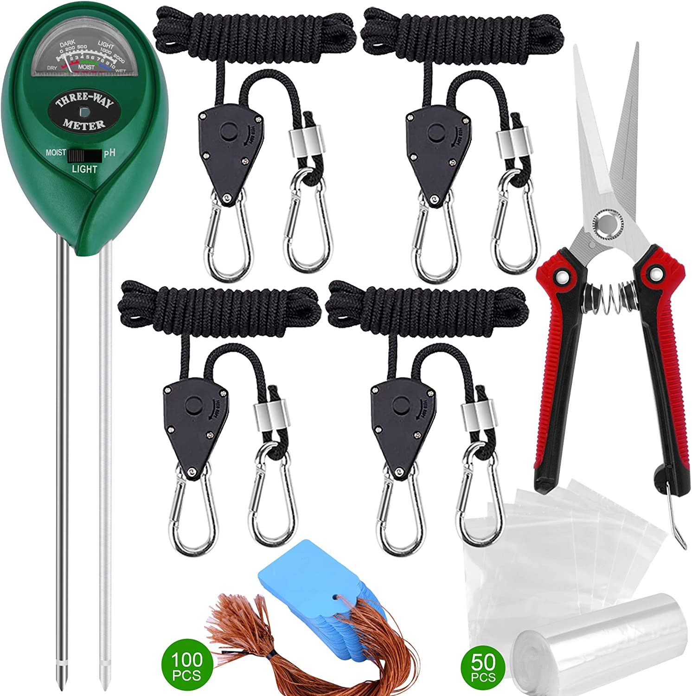 4 Pcs Heavy Duty Adjustable Grow Light Ratchet Rope Clip Hanger for Growing Light Fixtures & Gardening, Soil Tester Kit, Gardening Pruning Shears, Plant Label and Plastic Ziplock Bag Garden Tools Set