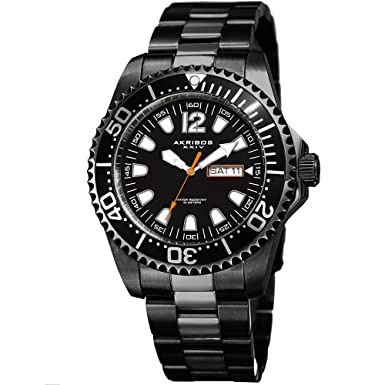 Great for Father s Day – Akribos Men s Diver Watch Water Resistant to 165 Ft – Date Window on Dial Quartz Movement – Stainless Steel Link Designer Bracelet – AK947