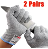 XSHIELD 17-CTG, Cut Resistant Gloves,High Cut Level 5, Food Grade,Safety Kitchen Cuts Gloves, VACUUM Packing, 2 Pairs, Free Ziplock Bag Included(Large)