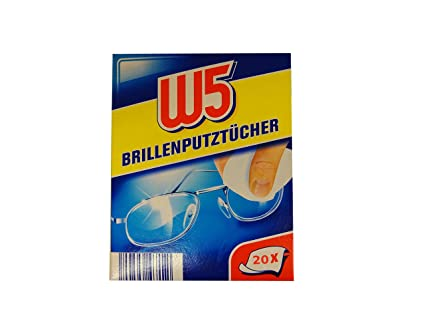 20 toallitas de limpieza W5 apto para limpiar gafas, cámaras, prismáticos, coche espejos