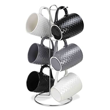 Home Basics 7 Piece Diamond Mug Set 6 11 oz Mugs and Mug Stand in Black, Gray and White Add A Fun and Stylish Decorative Display For Your Kitchen