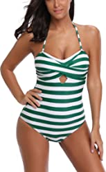 2c7360d003a FLYILY Women's One Piece Swimming Costume Low Back Wrap Padded Swimsuit