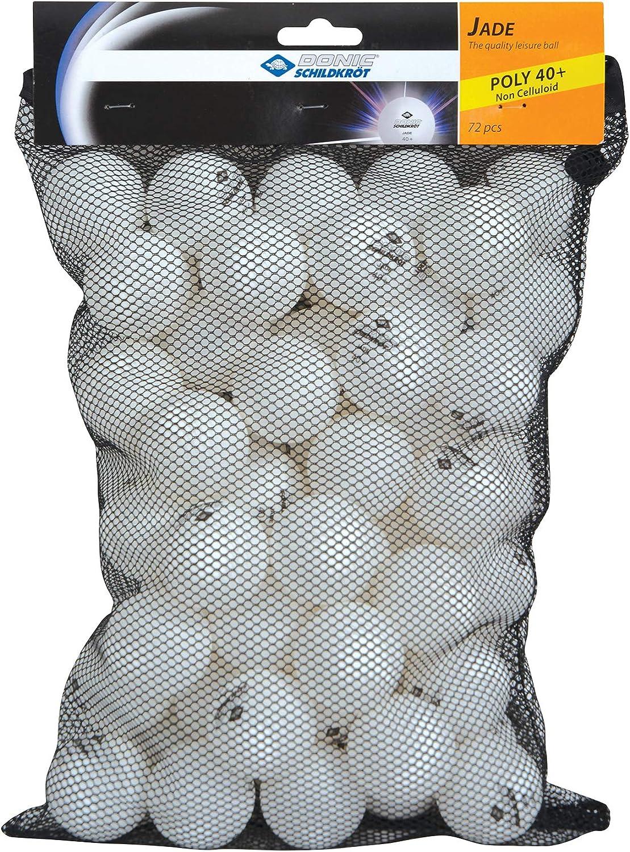 Donic-Schildkröt Jade - Pelota de ping pong (calidad 40+, 72 unidades) En bolsa de malla, color blanco, 608504