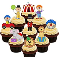 Circus Party Pack - Decoración comestible para tartas – oblea de pie para cupcakes