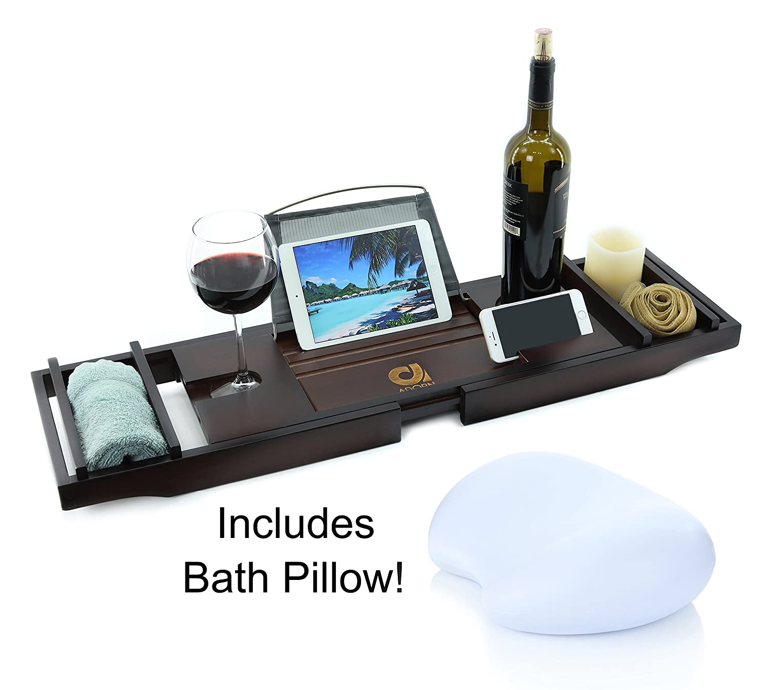 Adorn Home Essentials Bamboo Bathtub Caddy Tray with Wine and Cup Holder | Waterproof/Washable Bath Pillow with Suction Cup | One or Two Person Bath or Bed Adjustable Tray | Expands up to 43 | White AD-10046-WH