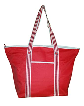 Amazon.com | XL Heavy Duty Beach Bag Tote with Zippered Top and ...