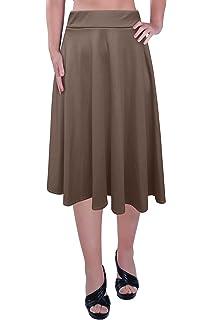 Aux Femmes Plus Taille Élastique Taille Dames Le Genou Longueur Plaine  Patineur Évasé Jupe Tailles efa2130ca347