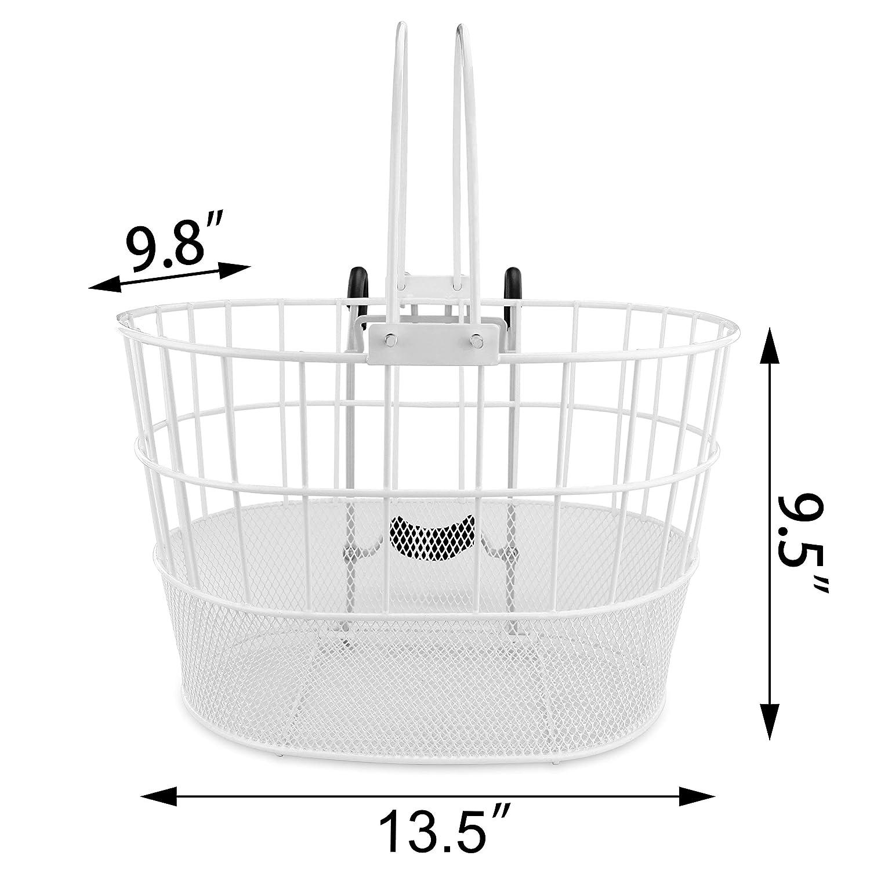 Colorbasket 02270 Mesh Bottom Lift-Off Bike Basket Powder Coated Steel Green Everware International EV02270 with Handles