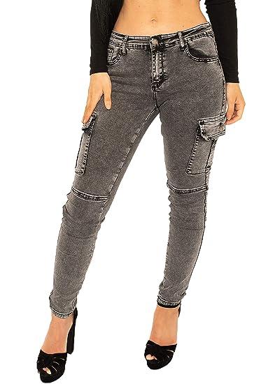 2e4b62e2dbb94 Pantalon Cargo Délavé pour Femme Coupe Slim, Skinny et Stretch - Gris - 34