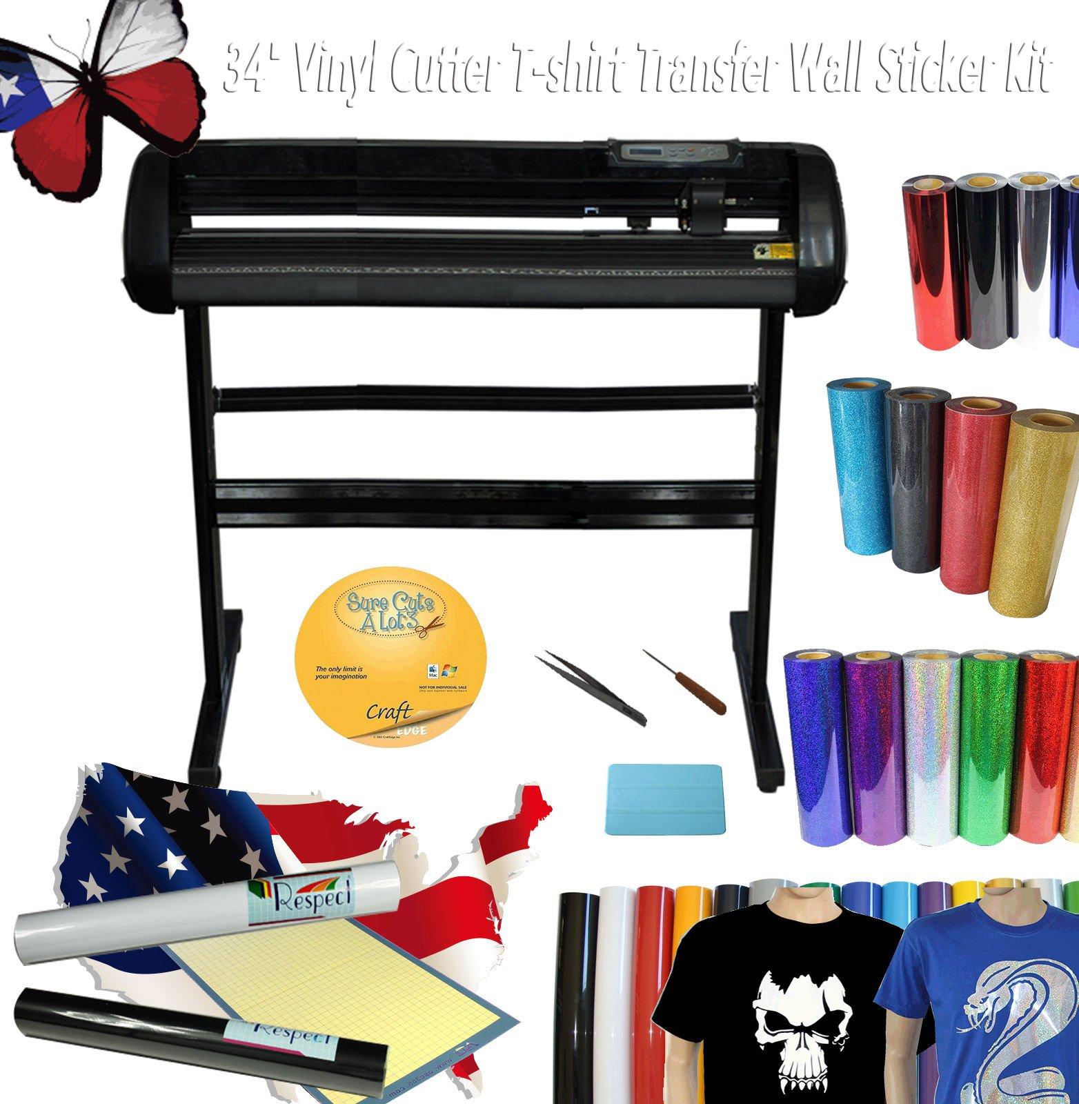 34'' 500g Vinyl Cutter Plotter T-shirt Heat Transfer Vinyl Wall Sticker Cutting Mat Tool Start-up Kit by Vinyl Cutter Packages