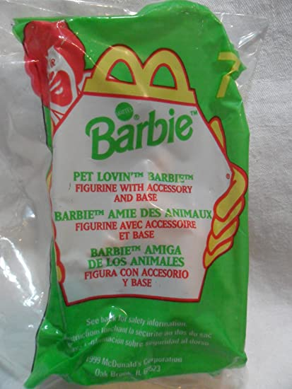 McDonalds Happy Meal Pet Lovin Barbie Figurine with Accessory and Base Toy #7 1999 McDonald/'s