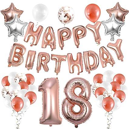 WolinTek Decoración de cumpleaños 18 en Oro Rosa, 36 Piezas ...