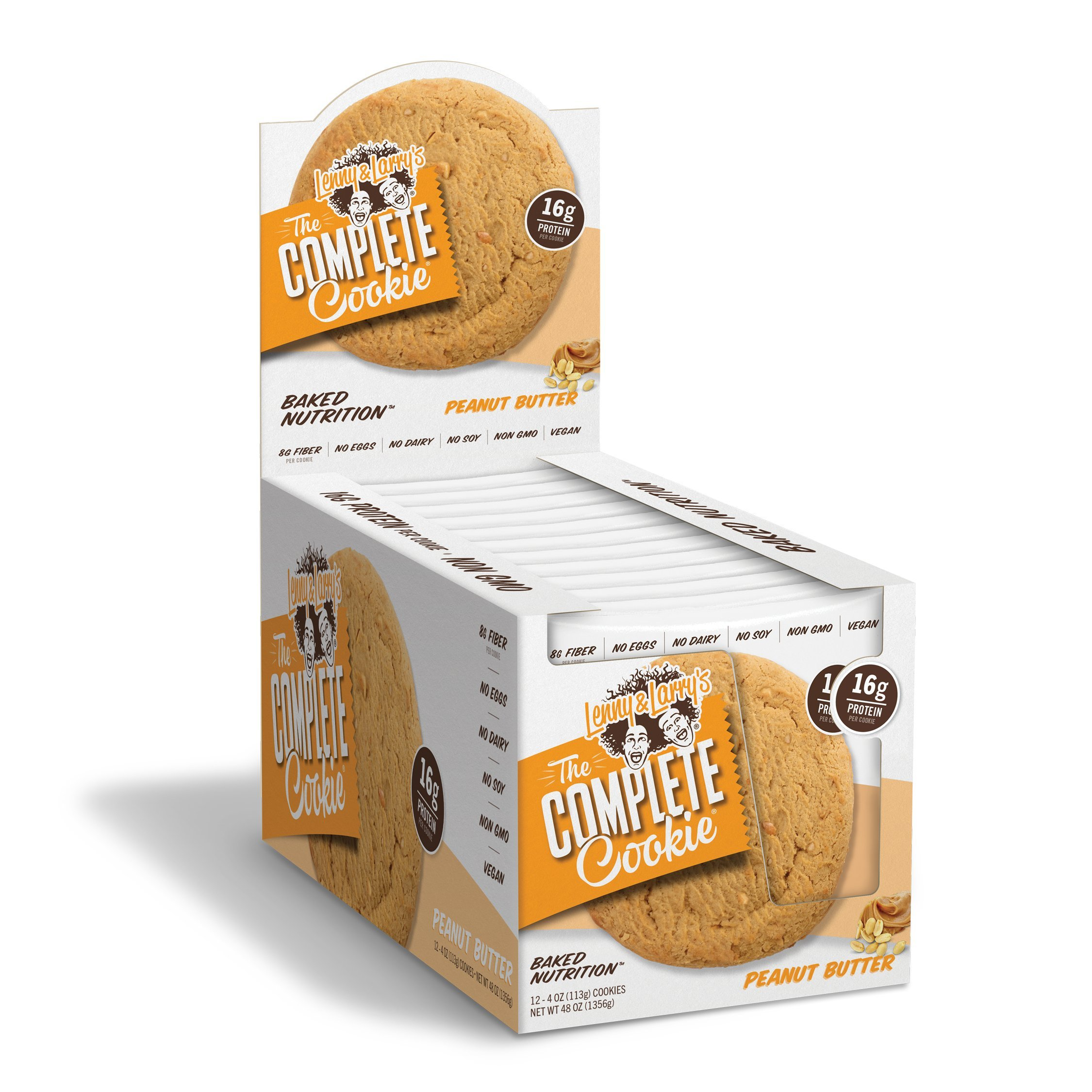 Lenny & Larry's The Complete Cookie, Peanut Butter, 4 Ounce Cookies - 12 Count, Soft Baked, Vegan and Non GMO Protein Cookies by Lenny & Larry's (Image #1)