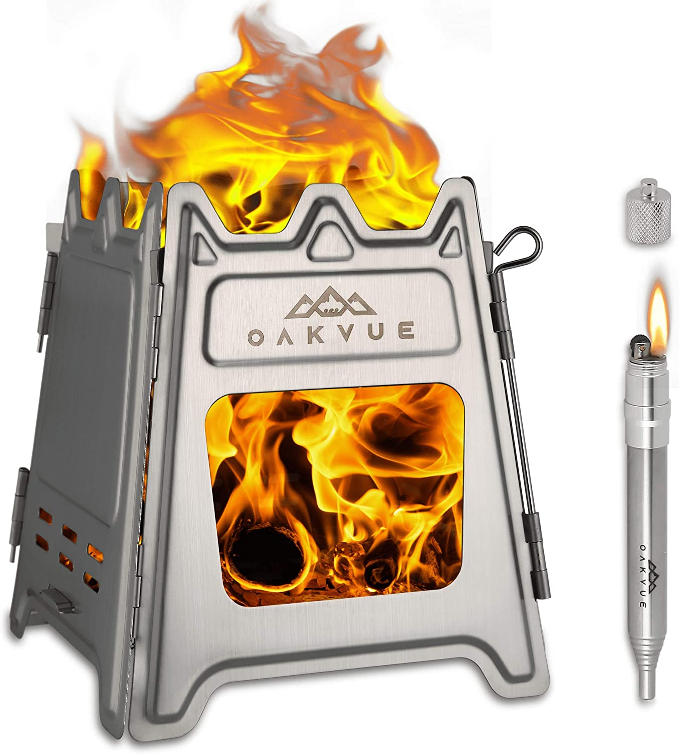 OAKVUE Foldable Camping Stove – Ultralight Backpacking Stove – Stainless Steel Camping Stove – Wood Burner Cooking Stove for Outdoor Activities – Portable Fire Stove – Fire Bellows and Lighter Bonus