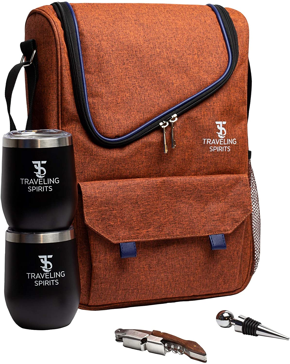 Traveling Spirits Insulated Wine Carrier   2 Bottle Wine Travel Bag with Stainless Steel Wine Tumblers   Wine Cooler Bag   Wine Tote for Travel, Wine Tasting, Party & More - Great Gift for Wine Lovers