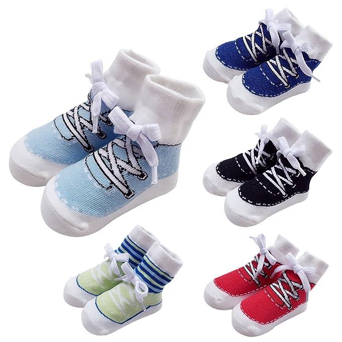 Sanlutoz Calcetines para bebés 5 Pack recién nacido niños piso ...