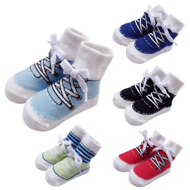 Vimuntado Baby Boys Newborn Socks Infant Boy Sport Cotton Novelty Crew Sock 5 Pack (12-24 Months, SOCKPK005)