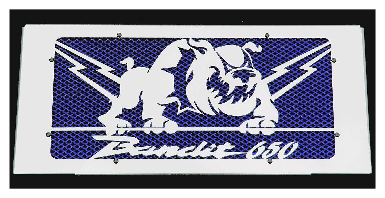 grille de radiateur inox poli GSF 650 Bandit 20072015 design Bulldog grillage anti gravillon bleu cache radiateur