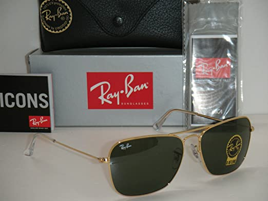 a589387cdf Ray Ban Caravan RB 3136 001 58mm Gold Crystal Green G-15 Sunglasses   Amazon.co.uk  Clothing