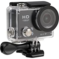 TecPlus Full HD 1080P Wi-Fi 12 MP 140 Degree Wide Angle Lens Waterproof 30 m Helmet Camera Sports Action Camera with Mounting Accessories Kit for Cycling/Surfing/Climbing - Black