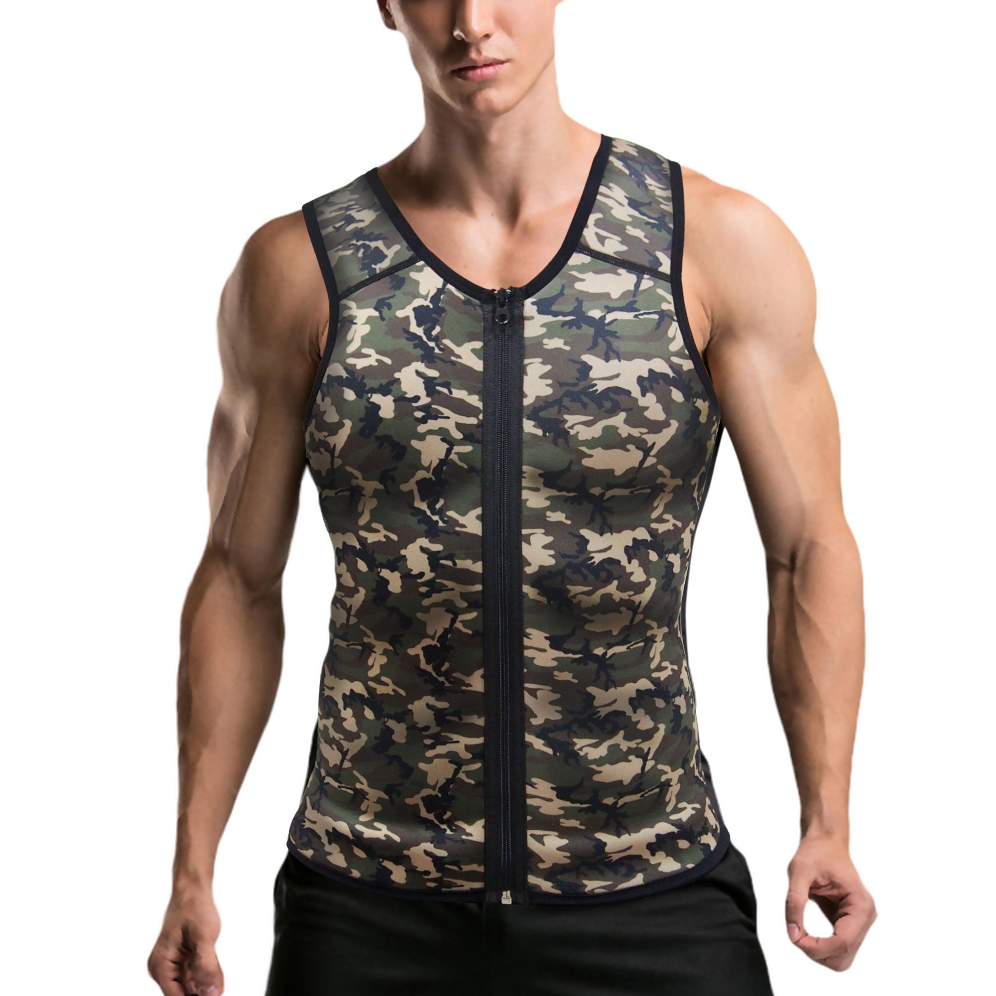 Mpeter Men Waist Trainer, Slimming Body Shaper Sweat Vest, Sauna Suit Tank Top Shirt for Weight Loss (Camouflage, S)
