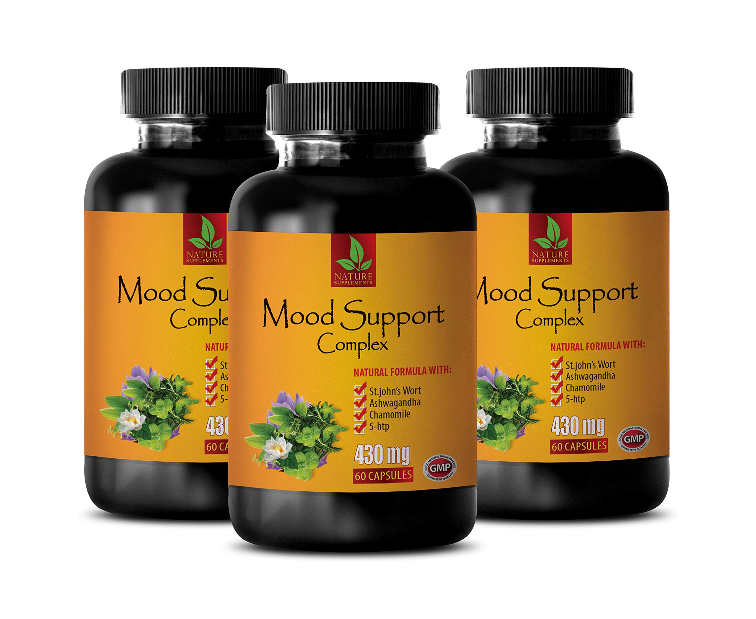 Mood Vitamins for Men - Mood Support Complex - Natural Formula - b12 methylcobalamin Complex - 3 Bottles 180 Vegetable Capsules by NATURE SUPPLEMENTS