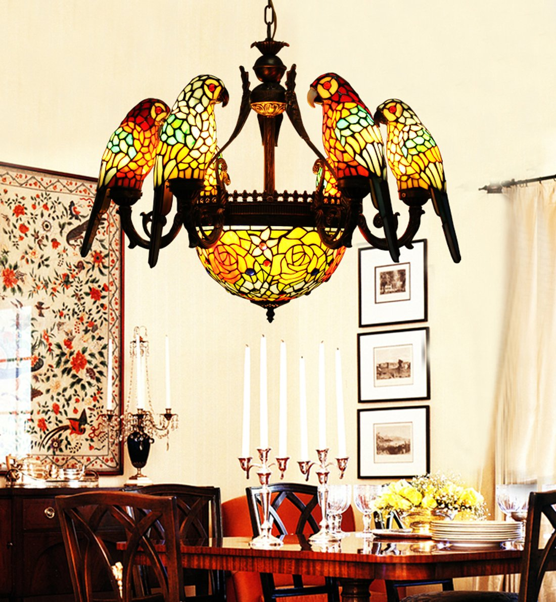 swag louis dp birds robert com w tiffany pendant amazon plug chandeliers in tropical style lighting