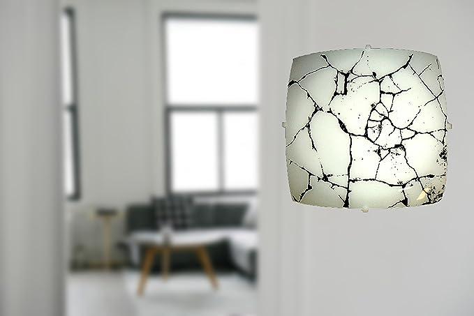 Plafoniera Quadrata Vetro : Sodimpex plafoniera quadrata cm in vetro amazon
