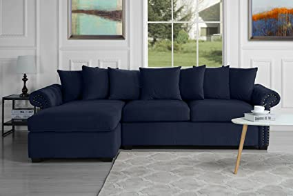 Amazon.com: Modern Large Tufted Velvet Sectional Sofa, Scroll Arm L ...