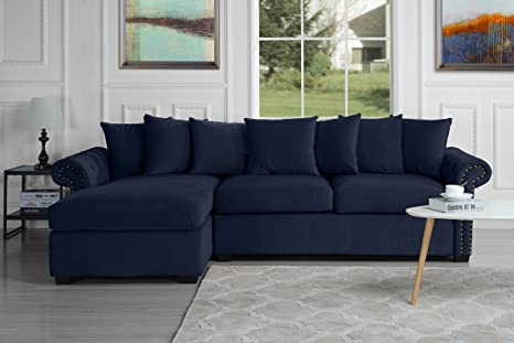 Modern Large Tufted Velvet Sectional Sofa, Scroll Arm L-Shape Couch (Navy  Blue)