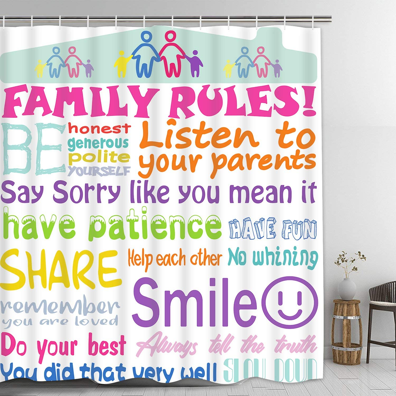 Family Rules Shower Curtain with 12 Hooks, Colorful Words Shower Curtain, Bathroom Rules Shower Curtain for Kids, Waterproof Fabric Bath Curtain for Bathroom, 69 x 74 Inches