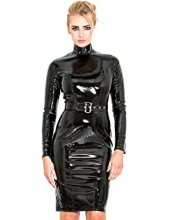 Honour Womens Stern Long Black PVC Skirt in PVC