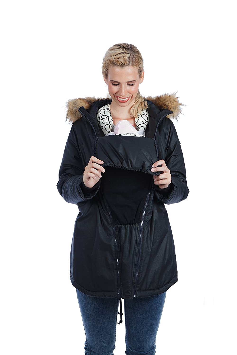0041aa88a709e Maternity Parka Coat Waxed Shell 'Sofia' - Colors Black, Green - Modern  Eternity (X-Large, Black): Amazon.co.uk: Clothing