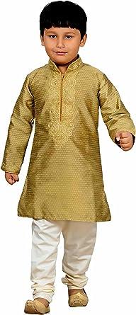 1-12 Years 2 Pcs Indian Gold Kurta Churidar Suit For Boys