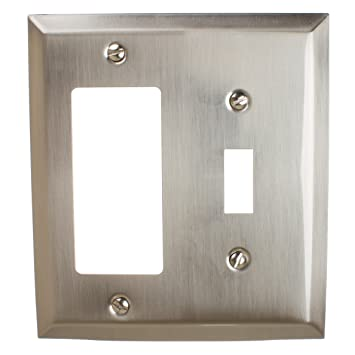 Gliderite Hardware Wall Plate Cover For Toggle Light Switch And Decora Rocker Combination Steel 2 Gang Classic Square Beveled Receptacle For