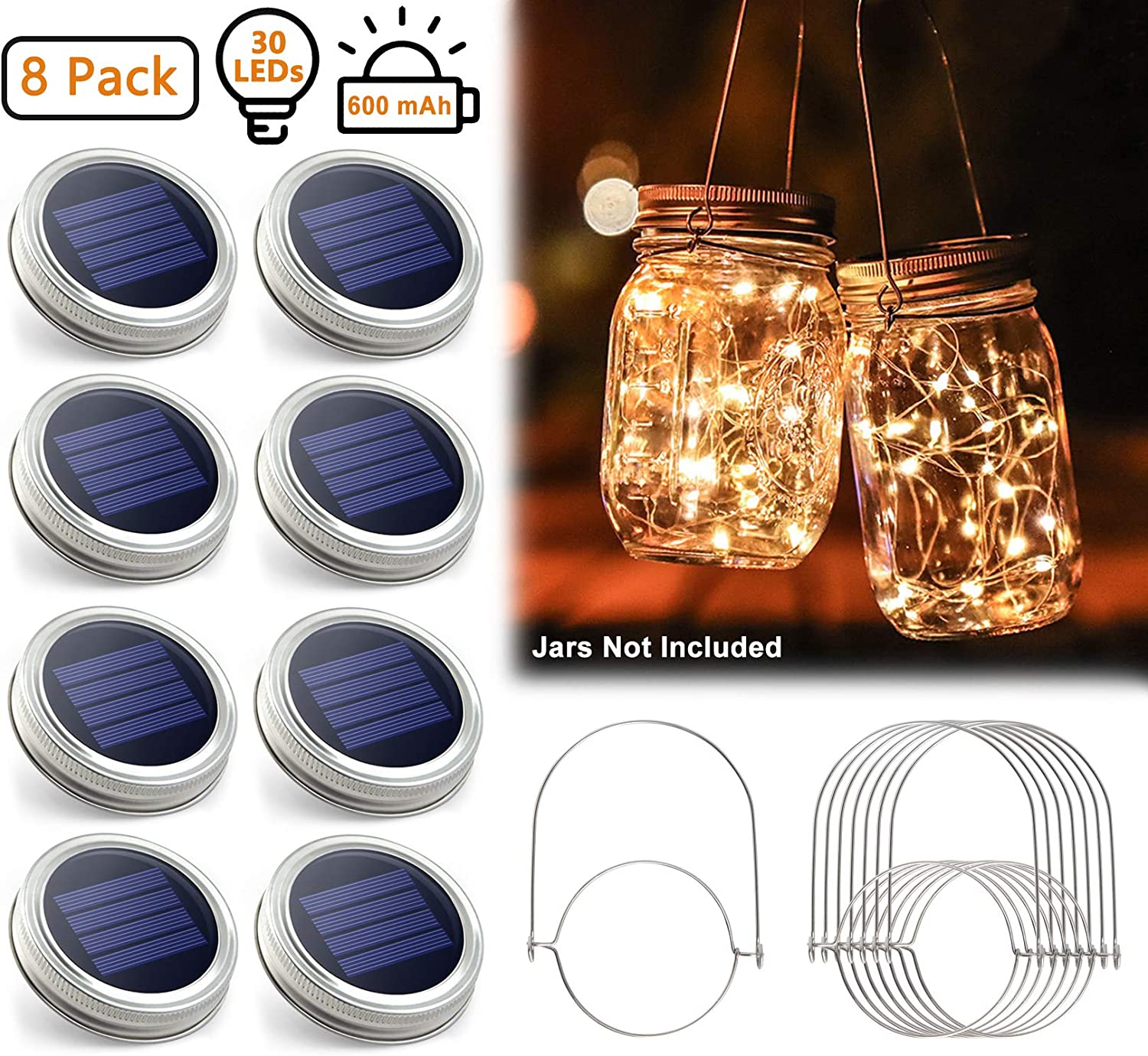 Urvoix Solar Mason Jar Lights - 8 Pack 30 Led String Waterproof Lids Lights with 8 Handle (Jars Not Included), Perfect for Outdoor Garden Patio Party Decorations