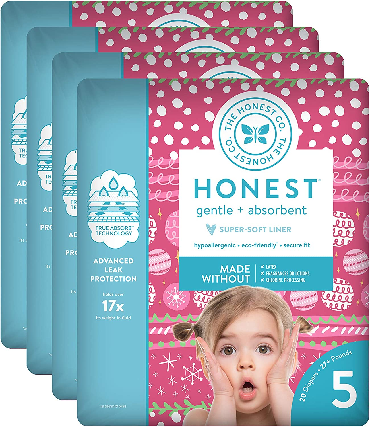 The Honest Company Baby Diapers with True Absorb Technology, Holiday Trimmings, Size 5, 80 Count