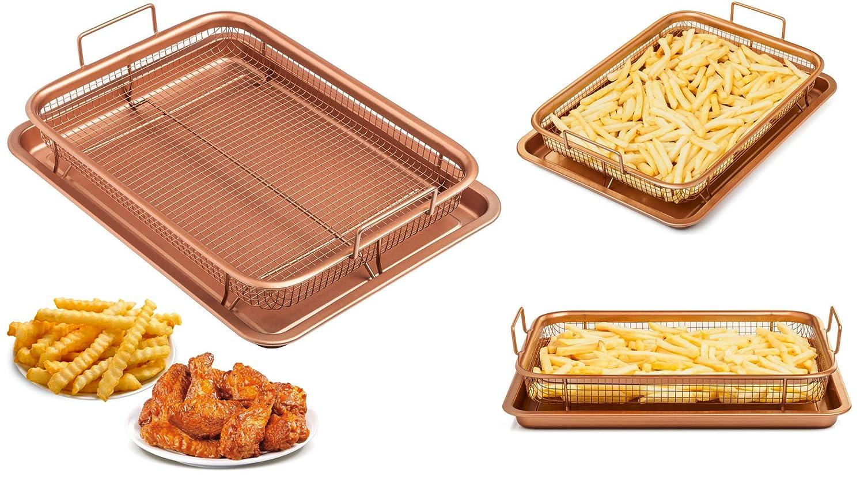 Chefs Star Sartén para pollo, papas fritas, aros de cebolla Juego de cajones de cobre Cobre: Amazon.es: Hogar