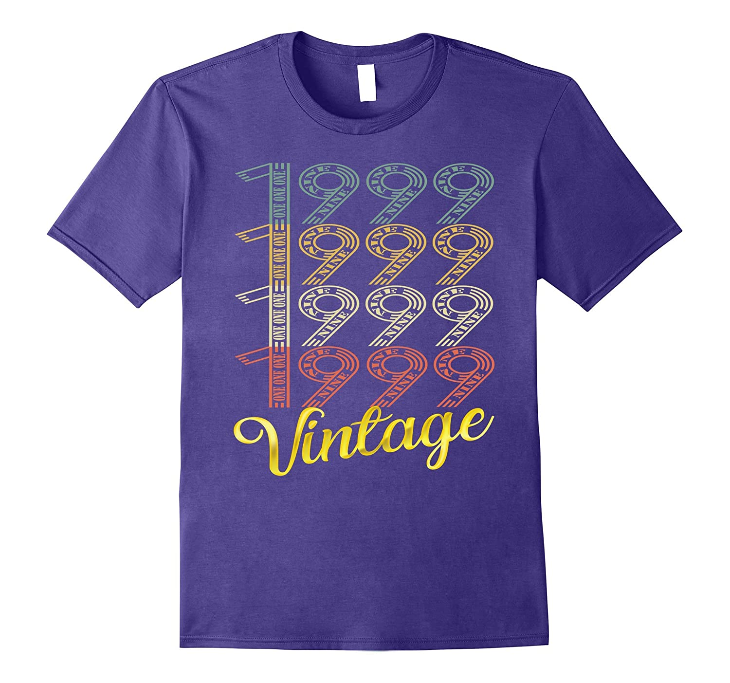 Vintage 1999 Gold 18 Years Old Fun 18th Birthday Shirt Gifts-FL