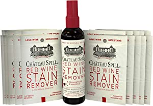 Chateau Spill Red Wine Stain Remover Kit (1 x 4oz Bottle & 10 Individual Wipes) | Wine Stain Remover for Clothes | Fabric Stain Remover | Gets The Red Out | Great Wine Accessories