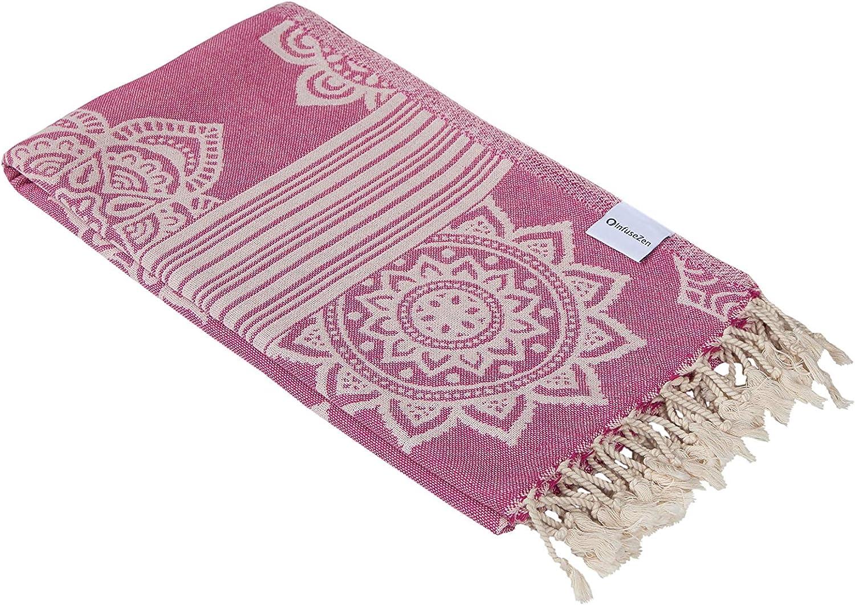 InfuseZen 100% Cotton Peshtemal, Reversible Turkish Towel for The Bath, Beach or Pool, Thin Fouta Towel for Travel, Gym, Yoga, Spa, 68 inches x 37 inches (Fuchsia)