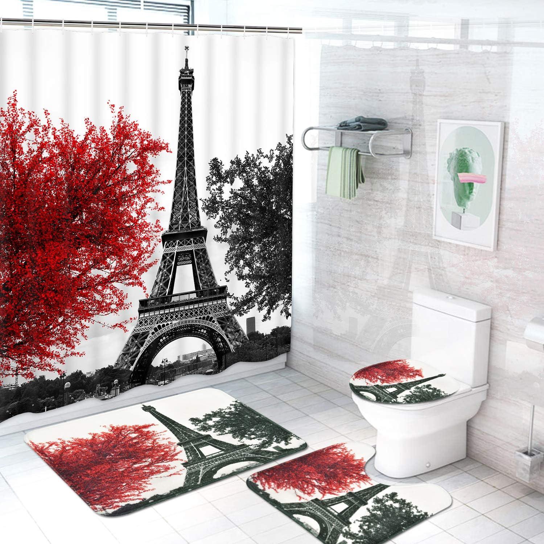 Eiffel Shower Curtain Set Bathroom Rug Thick Bath Mat Non-Slip Toilet Lid Cover