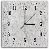 Feeby, Wall Clock, Multi-colour, Deco Panel Picture with Clock, Wall Deco, 30x30 cm, MARBLE, GREY