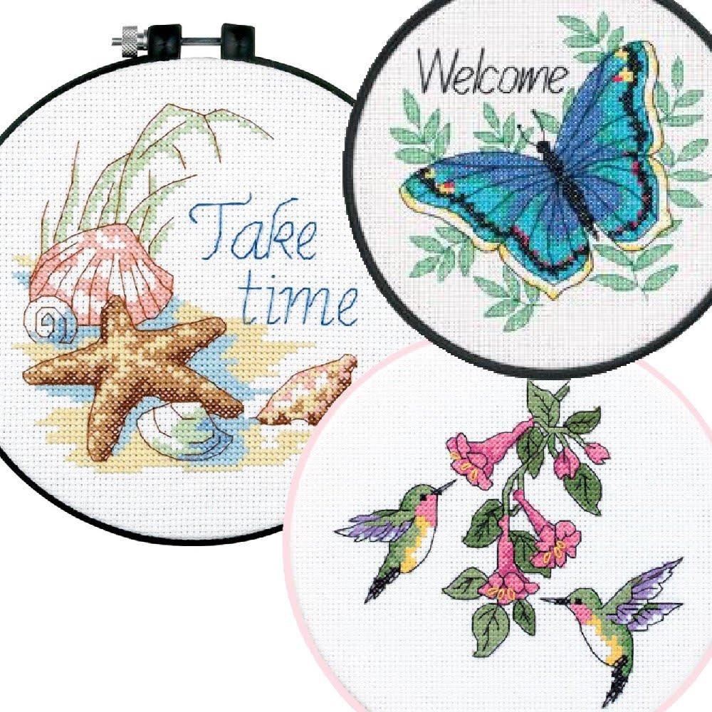 Butterfly and Hummingbird Cross Stitch Kits Bundle 3 Item Learn-A-Craft Bundle Take Time