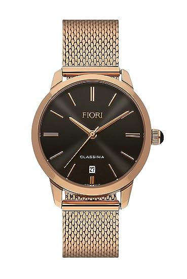 fd8cdc473a6 Elegant Fiori Women s Watch Classima 3463 Black and Rose Gold Mesh Bracelet  Date  Amazon.ca  Watches