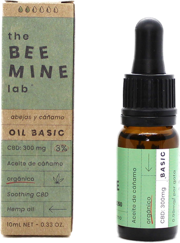 Beemine Aceite de Cáñamo Orgánico 300 mg (3%) Espectro Completo - 100% Natural - Alivio Estrés y Ansiedad - 10ml