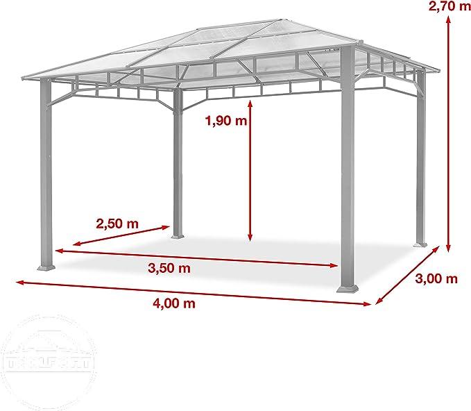 TOOLPORT Cenador de Jardín 3x4 m Marco de Aluminio 8mm Policarbonato Techo Gazebo de Jardín sin Cortinas Laterales: Amazon.es: Jardín