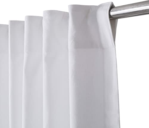 Livingroom Curtains 2 Panel Sets 50×108 inch White,Bathroom Curtains,Bathroom Window Curtains,White 108 inch Curtains,Cotton Curtains,tab top Curtains,White Cotton Curtains,White Panel Curtains