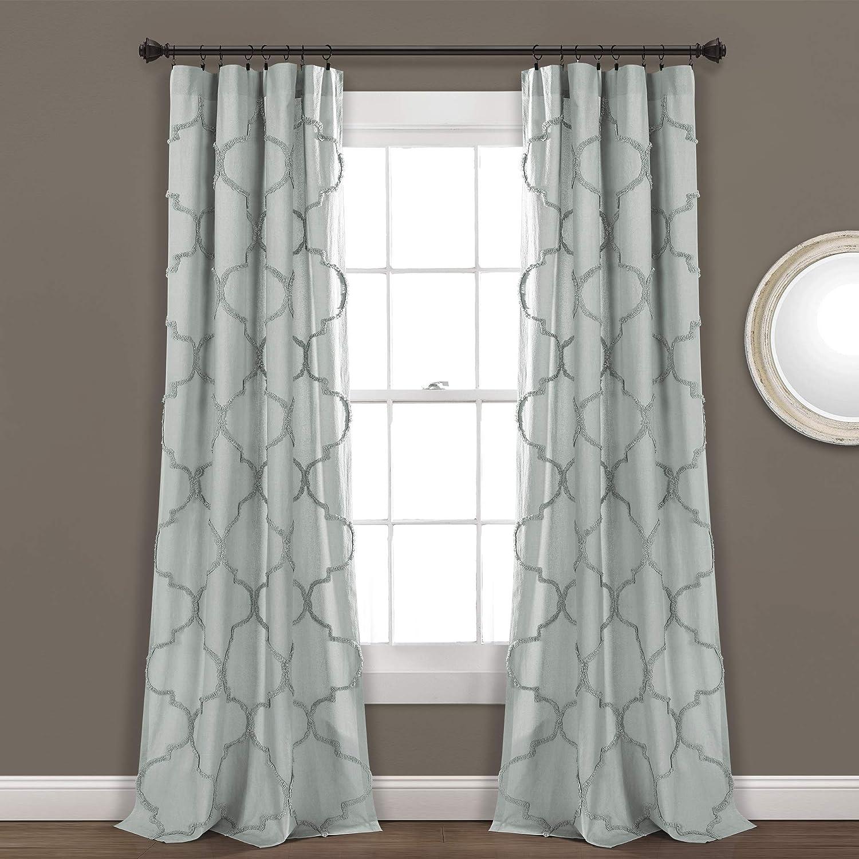 "Lush Decor, Pastel Blue Avon Chenille Trellis Window Curtain Panel Pair, 84"" x 40"""