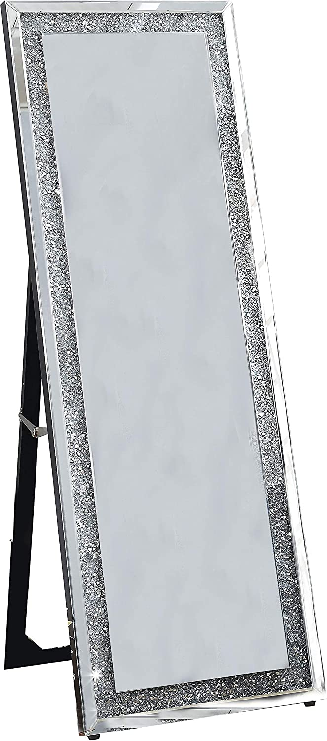 Benjara Faux Crystal Accented Wooden Framed Floor Mirror With Fold Out Back Leg Support Clear Furniture Decor Amazon Com